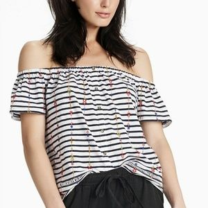 Lucky Brand Striped Off Shoulder Navy Multi NWT